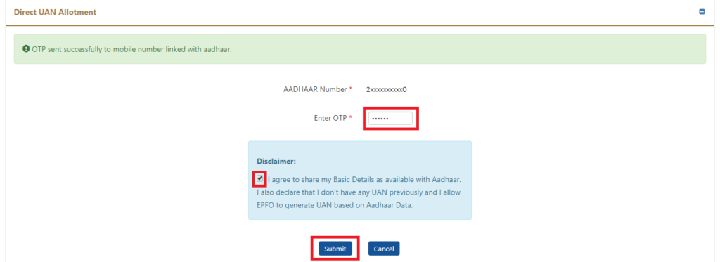 How to generate UAN using Aadhaar?- UAN generation by employee - 3