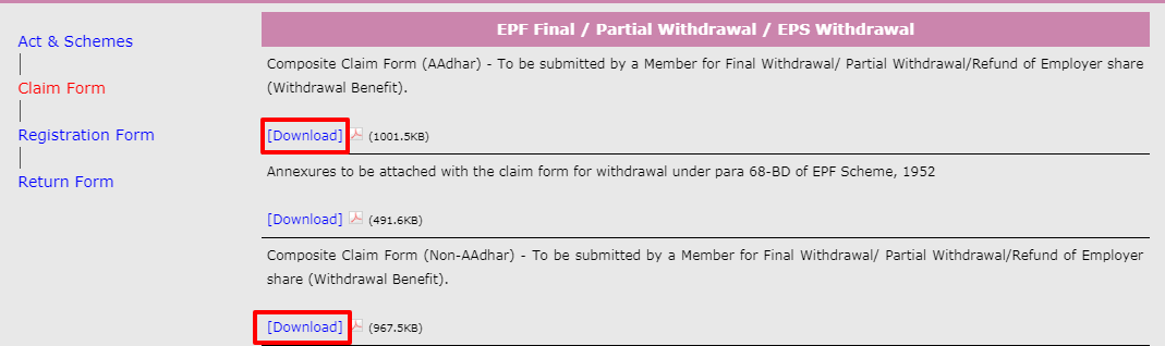 PF offline withdrawal
