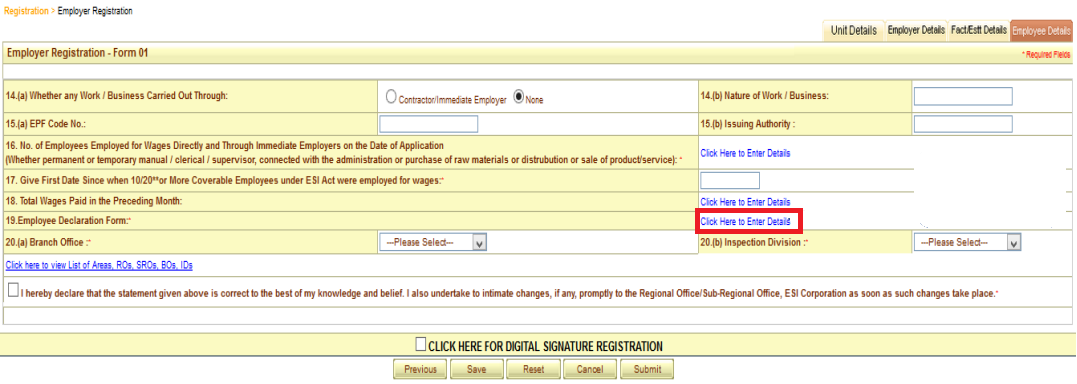 ESI registration procedure 15