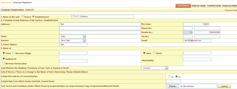 ESI registration procedure 4