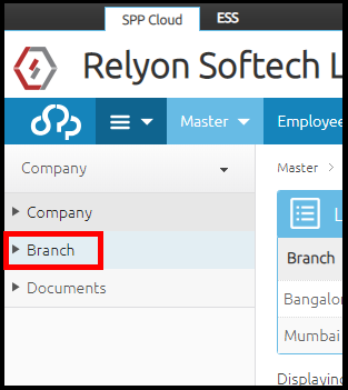 Branch details in Saral PayPack Cloud 1