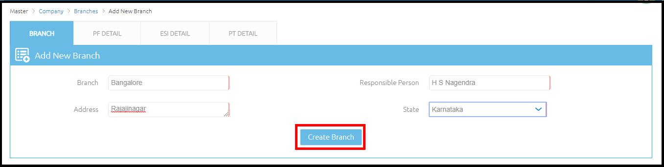 Branch details in Saral PayPack Cloud 3