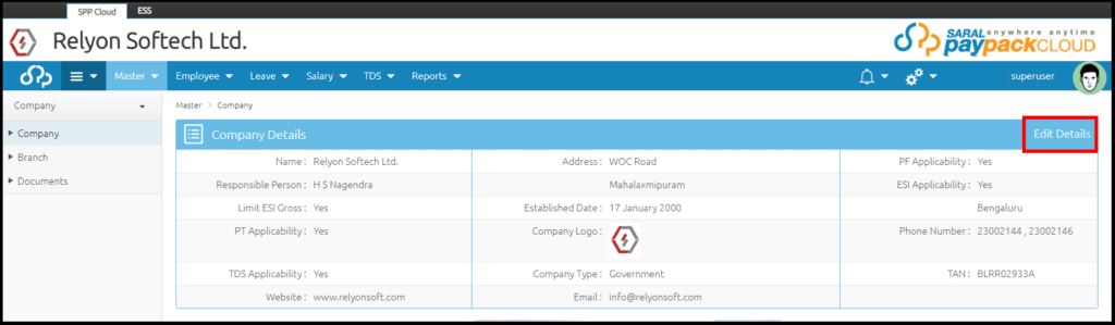 Company details and settings in Saral PayPack Cloud 2