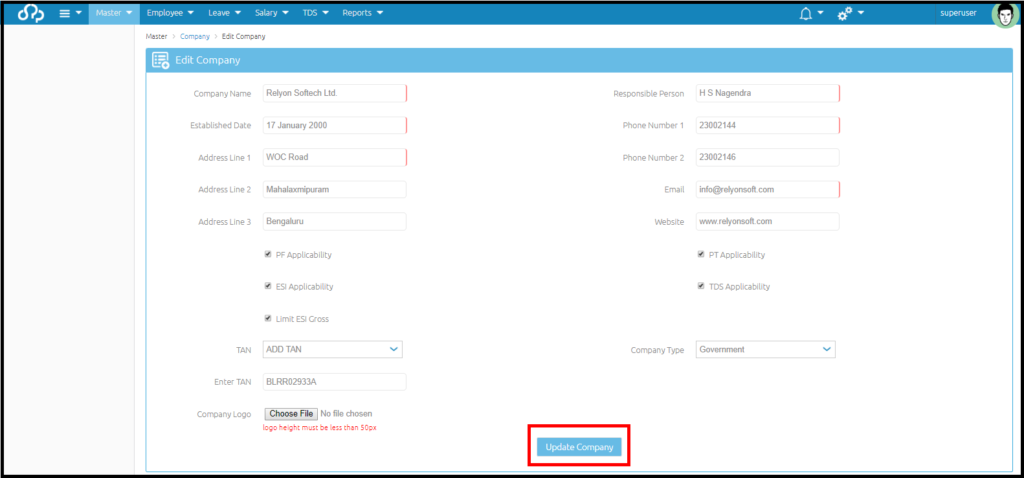 Company details and settings in Saral PayPack Cloud 3