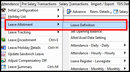 Leave encashment process in Saral PayPack 1