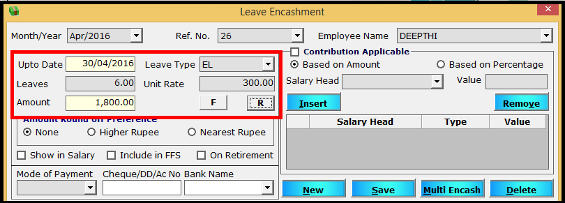Leave encashment process in Saral PayPack 11