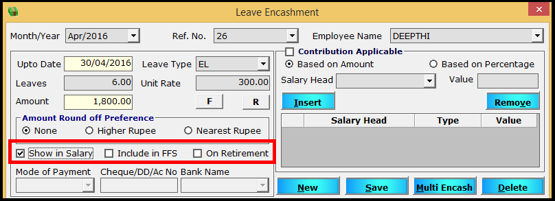 Leave encashment process in Saral PayPack 12