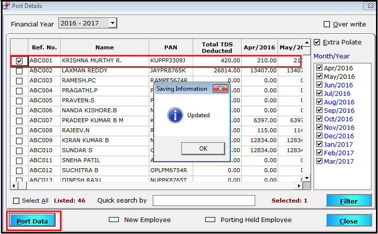 One time tax for Leave Encashment in Saral PayPack- port data