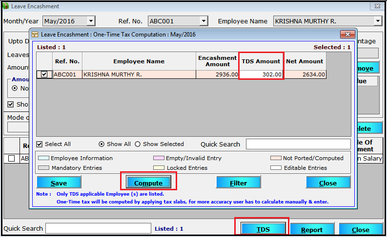 One time tax for Leave Encashment in Saral PayPack - click on compute