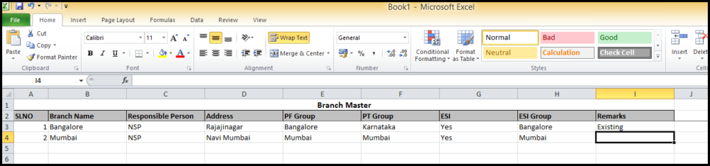 Branch creation in Saral PayPack - add the other branch