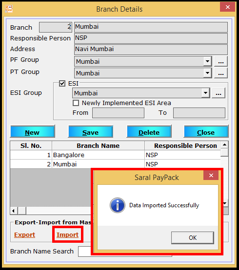 Branch creation in Saral PayPack - click on import