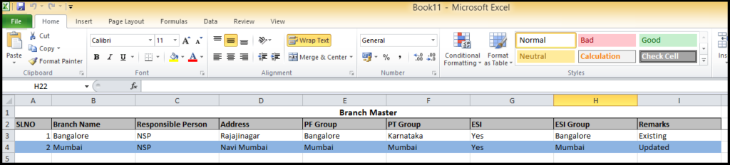 Branch creation in Saral PayPack - the details will be updated