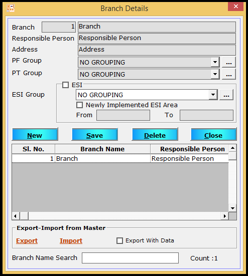 Branch creation in Saral PayPack - create branch and enter details
