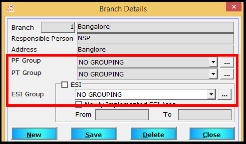 Branch creation in Saral PayPack - Mention no grouping