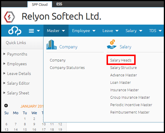 Salary head creation in Saral PayPack Cloud - select salary heads