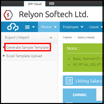 Salary head creation in Saral PayPack Cloud- generate sample template