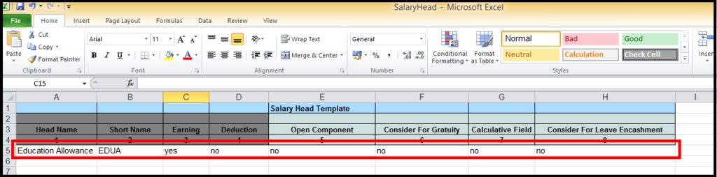 Salary head creation in Saral PayPack Cloud - mark yes