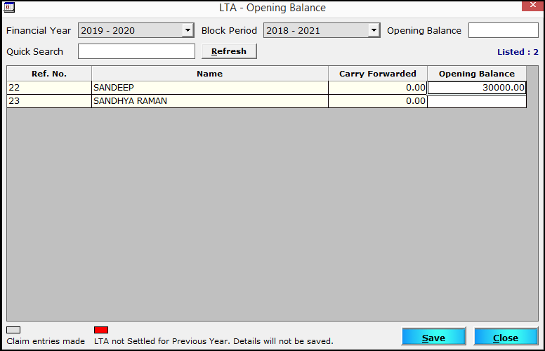 10.Reimbursement module in Saral PayPack-Opening balance and save