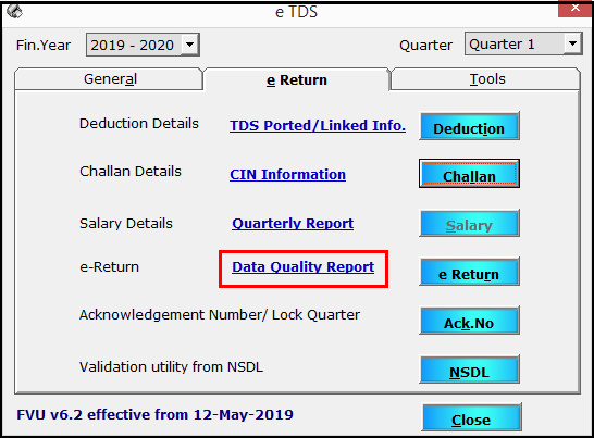 11. TDS e-filing using Saral PayPack - Data quality report