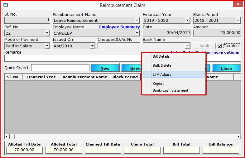 15.Reimbursement module in Saral PayPack-LTA adjust