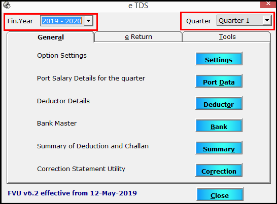 2. TDS e-filing using Saral PayPack - Select year and quarter
