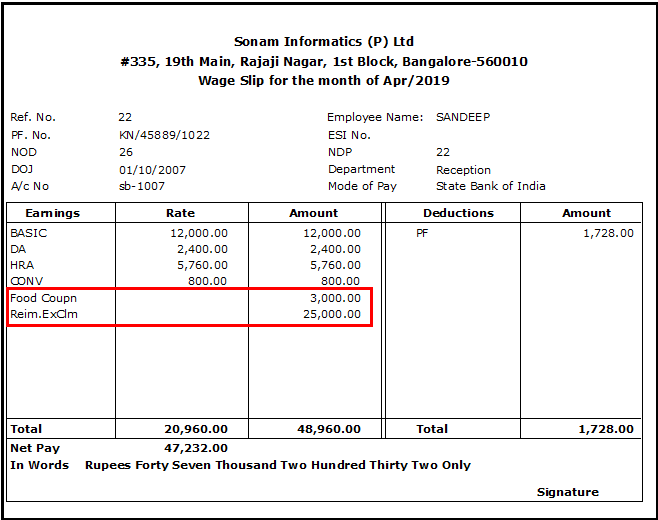 21.Reimbursement module in Saral PayPack-payslip of the employee