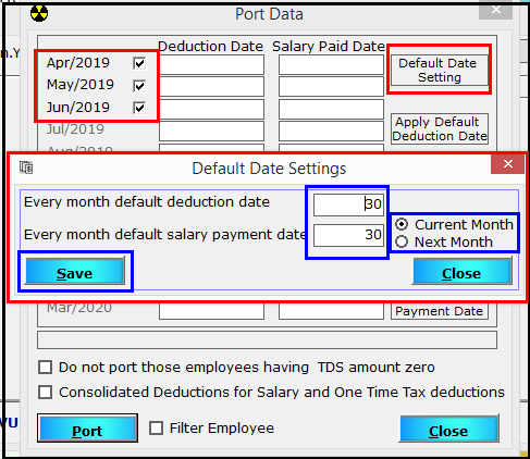 4. TDS e-filing using Saral PayPack - Select default date