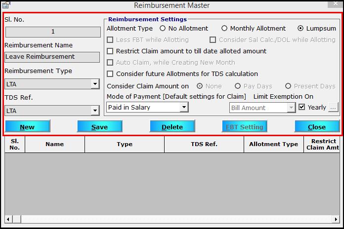 4.Reimbursement module in Saral PayPack-master screen