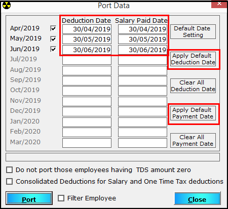 5. TDS e-filing using Saral PayPack - Apply default date