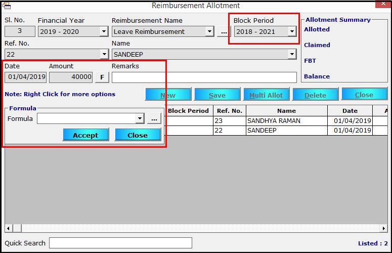 8.Reimbursement module in Saral PayPack-LTA type