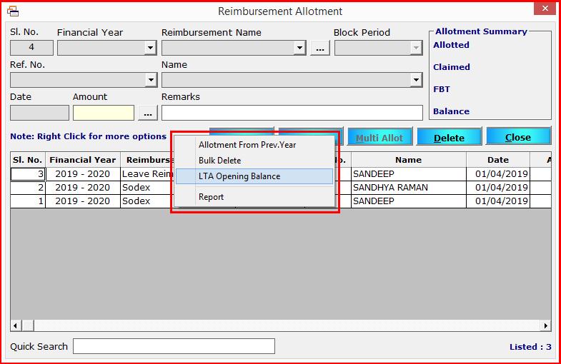 9.Reimbursement module in Saral PayPack-LTA opening balance