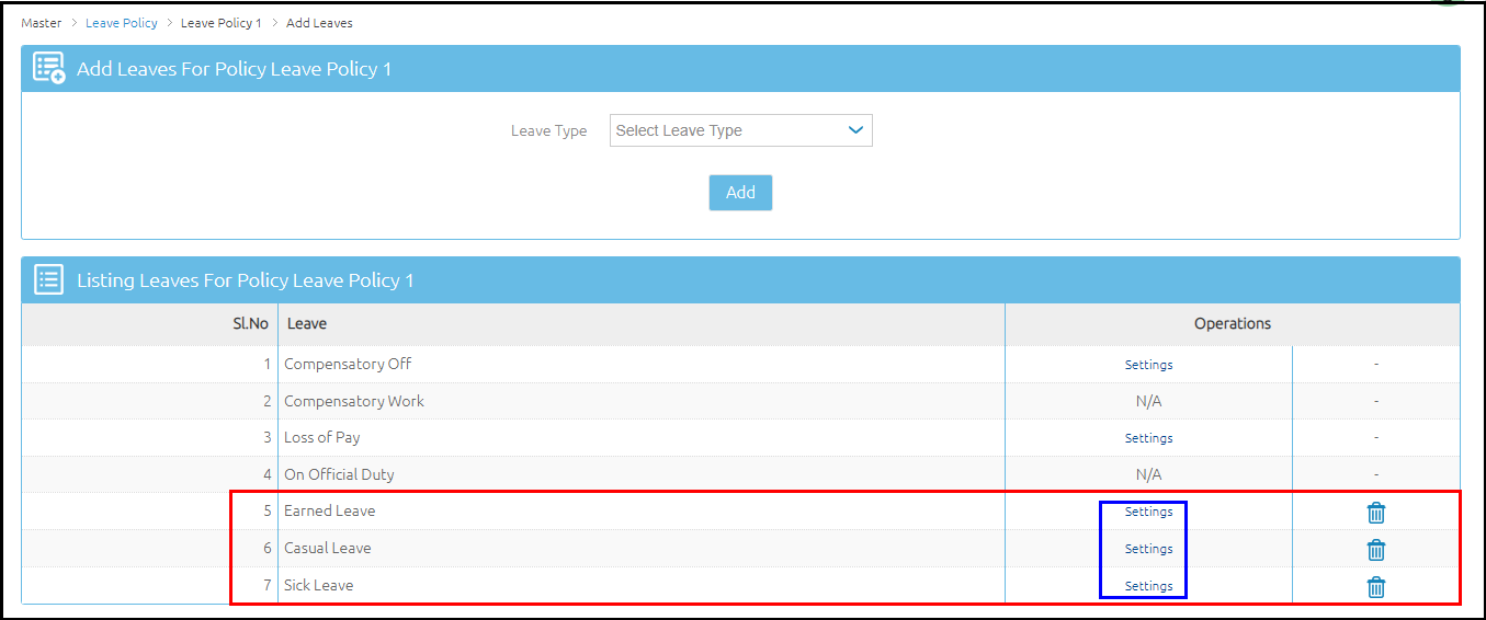 6.Leave Policy definition-Detailed settings screen