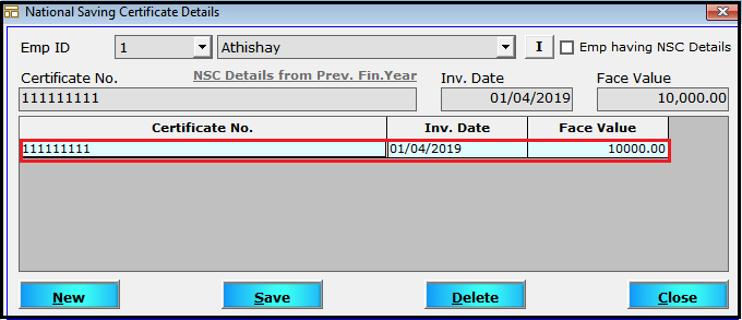 More Employee Details in Saral Pay Pack 17- NSC details