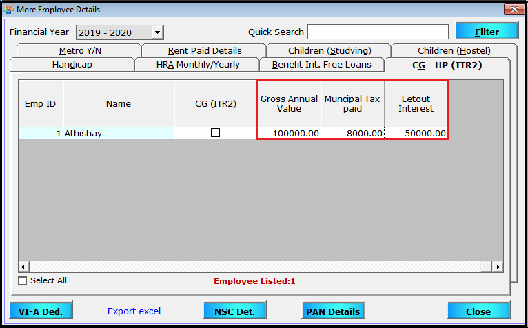 More Employee Details in Saral Pay Pack 8- details about LOP