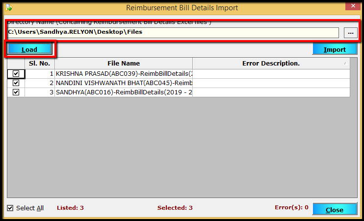 10.Importing Bill Details to Saral PayPack-Import window