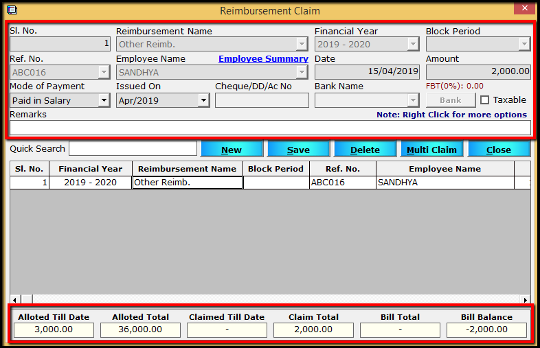 2. Importing Bill Details to Saral PayPack-total bill view.