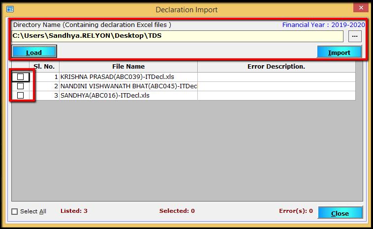 importing employee declaration 9- import employee details