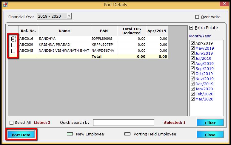 Port details window - employees' list
