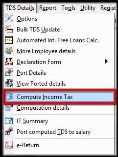 TDS details menu- compute income tax