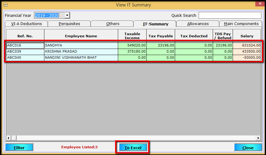 2.Porting computed TDS- Total tax computed