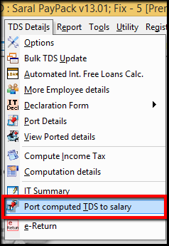 3.Porting computed TDS-Port computed