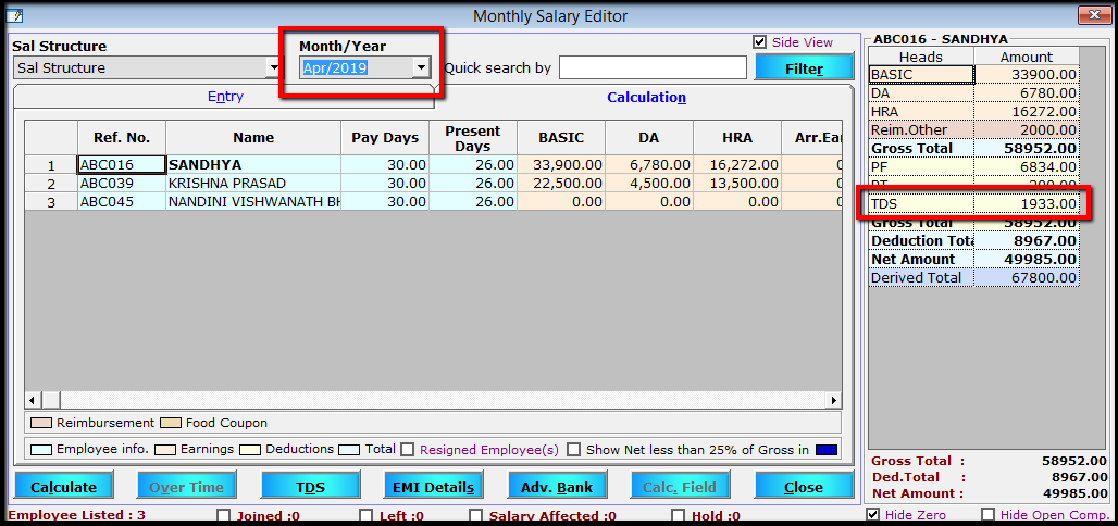 6.Porting computed TDS-Salary editor