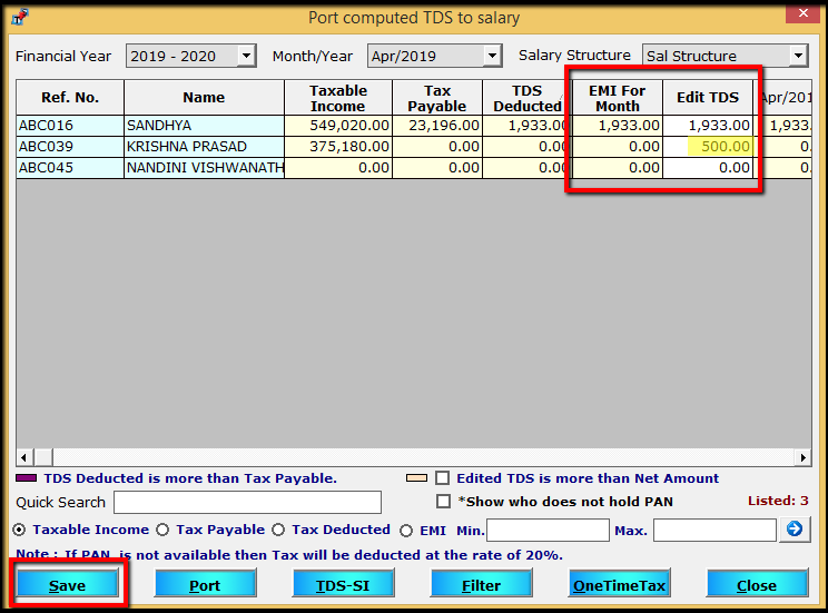 7.Porting computed TDS-Amount deducted