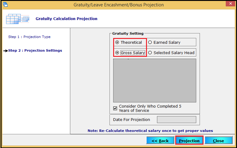 3.Gratuity Projection and Gratuity Calculation-Projection settings.
