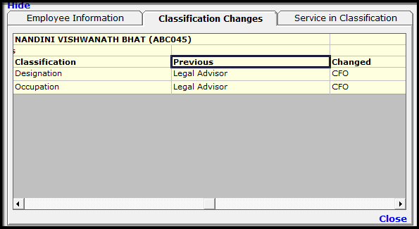 5.Classification Details Change of an Employee-Change
