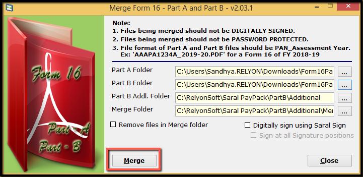 7. Merging Form 16 - Merge