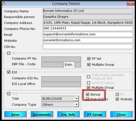 1. Bonus - Company setting
