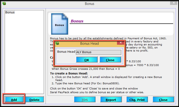 3. Create New Bonus